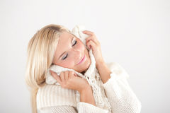 Young beautiful blond winter woman Stock Image