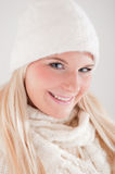 Young beautiful blond winter woman Royalty Free Stock Photos