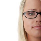 Young beautiful blond woman. In glases isolated Stock Images