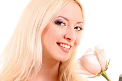 Young beautiful blond woman with fresh white rose Stock Photos