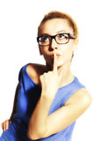 Young beautiful blond woman in glasses Stock Photography