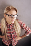 Young beautiful blond woman with glasses Royalty Free Stock Images