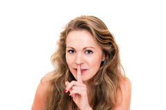 Young beautiful blond woman, sign of silence Stock Image