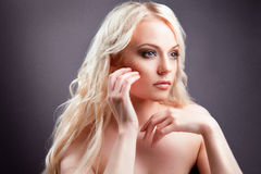 Young beautiful blond woman with stylish make-up Royalty Free Stock Image