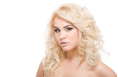 Young beautiful blond woman on white Royalty Free Stock Image