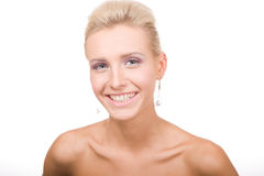 Young beautiful blond woman on white Royalty Free Stock Images