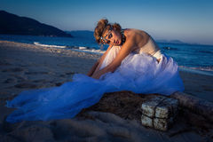 Young beautiful blonde bride Stock Images