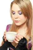 Young beautiful blonde with a cup Royalty Free Stock Photo