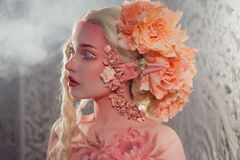 Young beautiful girl elf. Creative make-up and bodyart royalty free stock photography