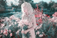 Free Young Beautiful Blonde Girl On Spring Flower Background. Woman With Pale Skin And Long Blonde Hair In White Dress. Blooming Spring Stock Photography - 164513672
