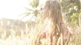 Young beautiful blonde girl stock footage
