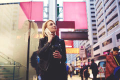 Young Beautiful Blonde Is Traveling By Work Finding Way To Campus Using Roaming Royalty Free Stock Image