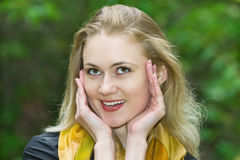 Young beautiful blonde surprised girl Stock Photography