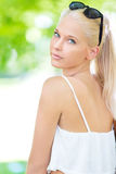 Young and beautiful blonde teenage girl outdoor Stock Photo