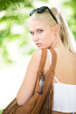 Young and beautiful blonde teenage girl outdoor Royalty Free Stock Photos