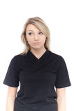 Young beautiful blonde woman with blank black shirt Stock Photo