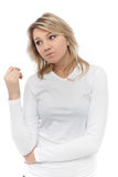 Young beautiful blonde woman with blank white shirt Royalty Free Stock Photo