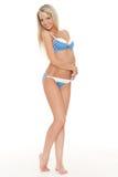 Blonde woman in blue underwear. Royalty Free Stock Photo