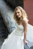 Young beautiful blonde woman in bridal dress stock photo