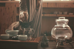 Young beautiful blonde woman with cat. On tea ceremony stock image