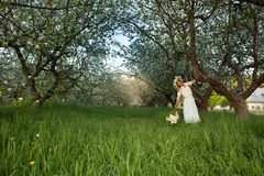 Young beautiful blonde woman in a dress in blooming apple garden - outdoors royalty free stock photo