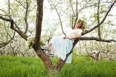 Young beautiful blonde woman in a dress in blooming apple garden - outdoors royalty free stock image