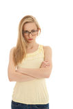 Young beautiful blonde woman emotion Royalty Free Stock Photo