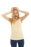 Young beautiful blonde woman emotion Stock Photos