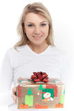 Young beautiful blonde woman gift box in hand Royalty Free Stock Photos