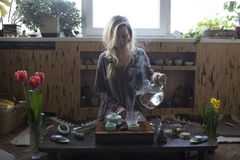Young beautiful blonde woman. Making tea ceremony stock images