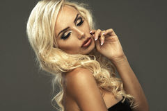 Young beautiful blonde woman posing Stock Photo