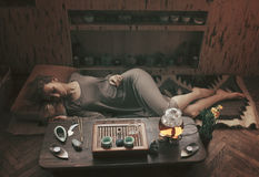 Young beautiful blonde woman. At rest after tea ceremony stock photo