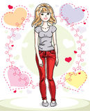 Young beautiful blonde woman standing on colorful backdrop with Stock Images