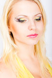 Young beautiful blonde woman with stylish make-up Stock Images