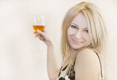 young beautiful blonde woman with wine Stock Photos