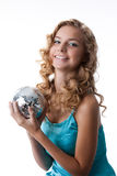Young Beautiful Blondie With Disco Ball Stock Photography