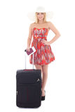 Young beautiful blondie woman in red dress with suitcase, passpo Royalty Free Stock Photos