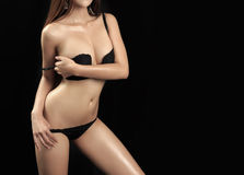 Young beautiful body asian woman Royalty Free Stock Photography
