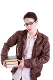 Young and beautiful boy, with books on the hands Royalty Free Stock Images