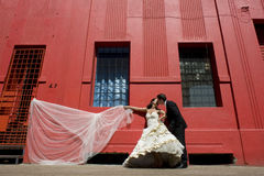 Young beautiful bridal couple leaning against red building. With veil Stock Image