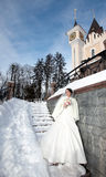 Young beautiful bride. With wedding bouquet stock photos