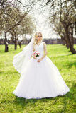 Young, beautiful bride with a bouquet, is the spring, apple orch Royalty Free Stock Image