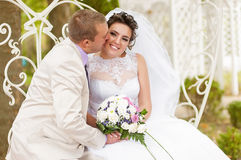 Young and beautiful bride and groom Stock Image