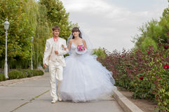 Young and beautiful bride and groom Royalty Free Stock Images
