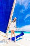 Young beautiful bride having fun on a tropical beach . Tropical Stock Photos