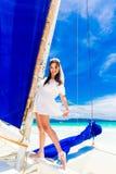Young beautiful bride having fun on a tropical beach . Tropical Stock Photography