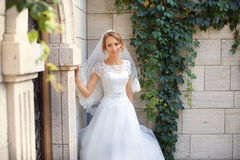 Young beautiful bride on her wedding day. Bride in white dress posing in the photo Royalty Free Stock Photo