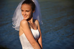 Bride near water Stock Photography
