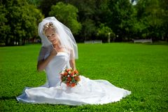 Young beautiful  bride outdoor Stock Images