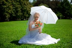 Young beautiful  bride outdoor Royalty Free Stock Image
